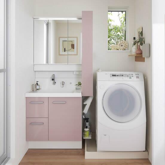 ピンクの洗面台