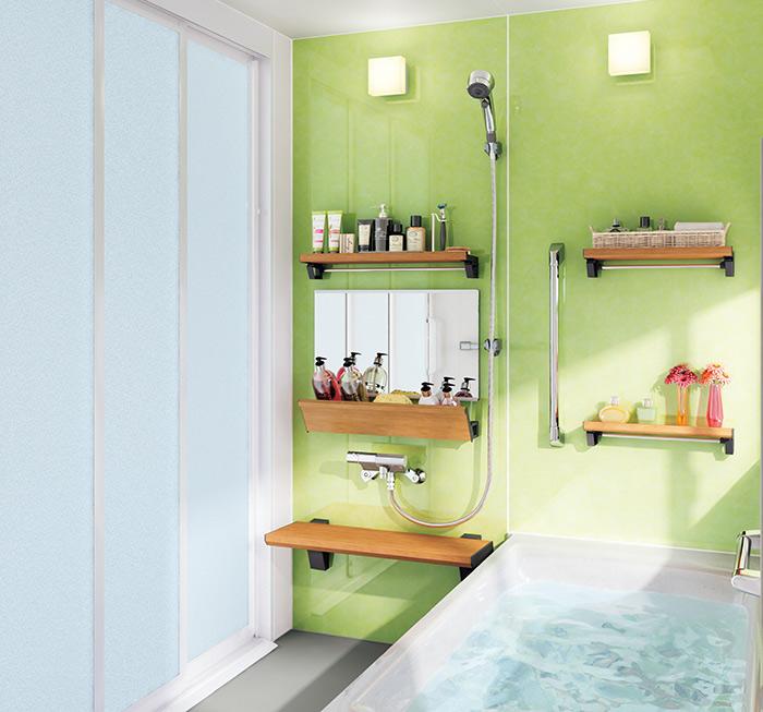 緑の明るいお風呂
