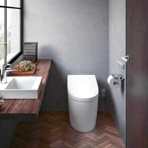手洗いカウンターのあるトイレ