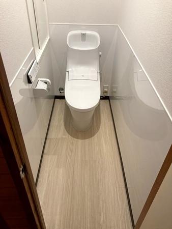 茨城県神栖市トイレリフォーム|汚れ防止のパネル設置