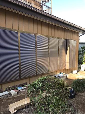 茨城県牛久市雨戸リフォーム 室外機を避けて右側に戸袋を設置