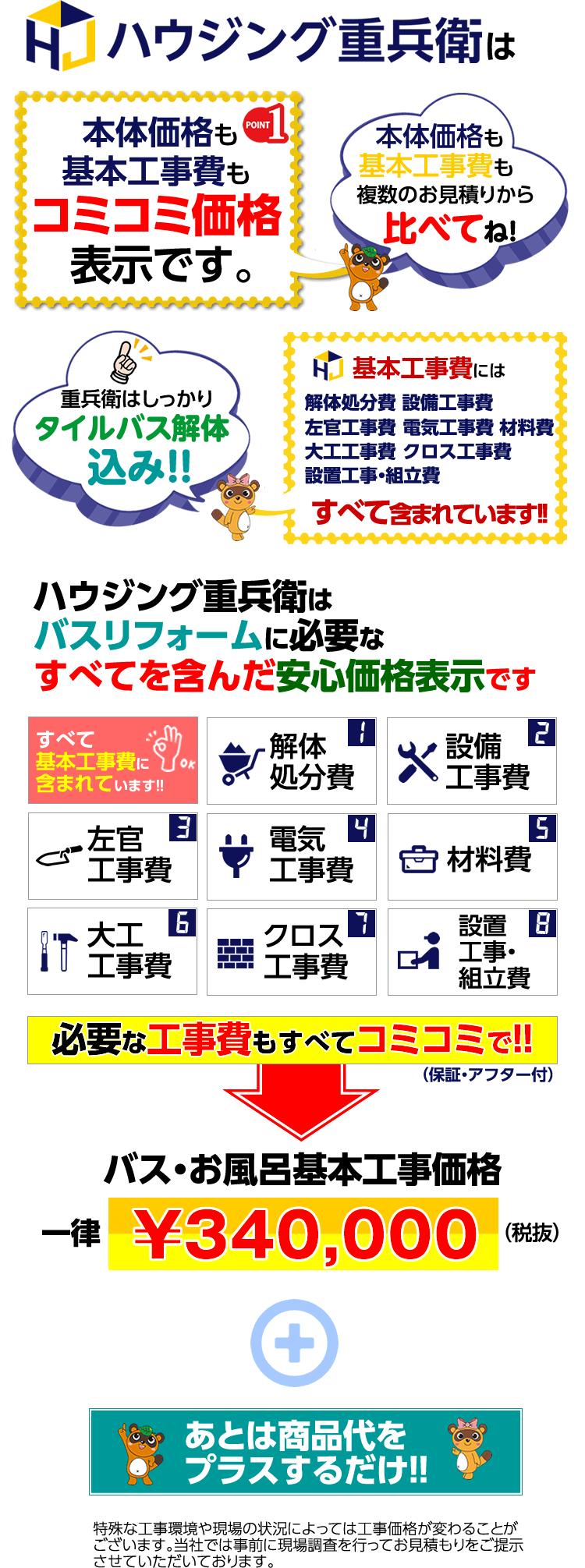 重兵衛は【商品価格+コミコミ基本工事費】